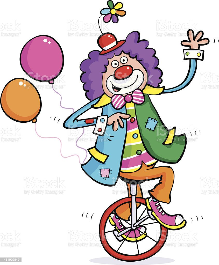 Clown On Unicycle vector art illustration