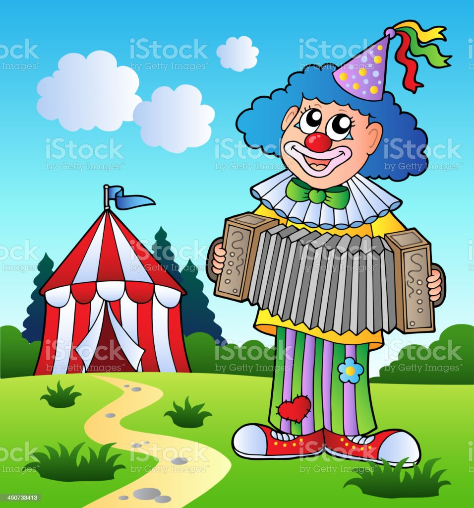 Clown playing accordion near tent royalty-free stock vector art