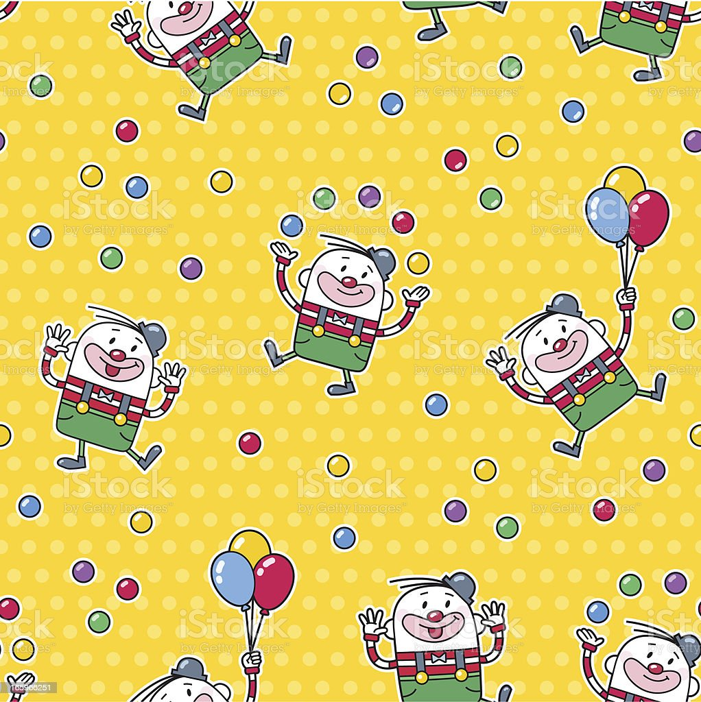 clown seamless pattern - birthday / cartoon royalty-free stock vector art