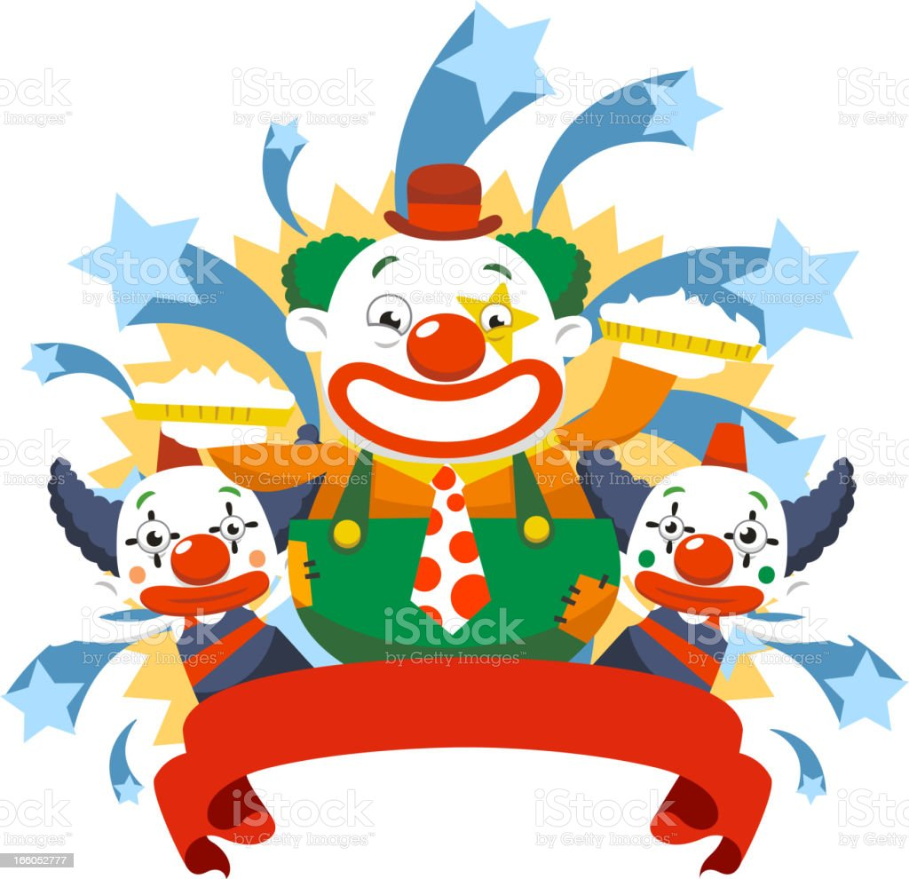 Clown stars vector art illustration