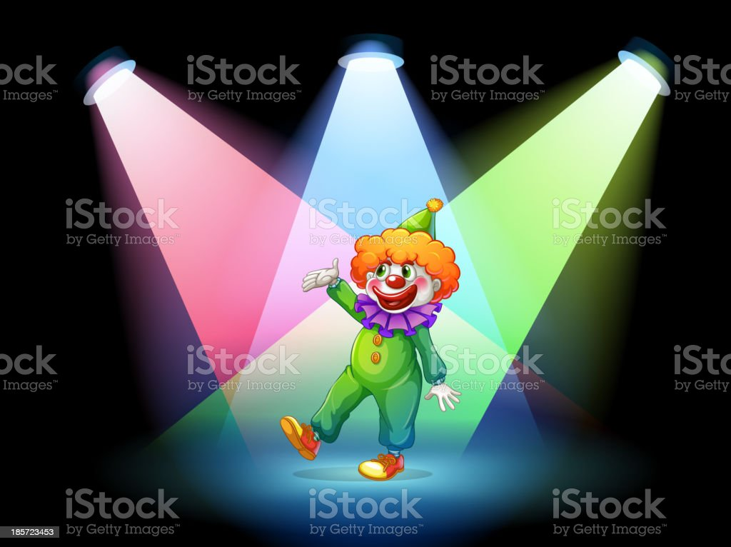 clown under the spotlights royalty-free stock vector art