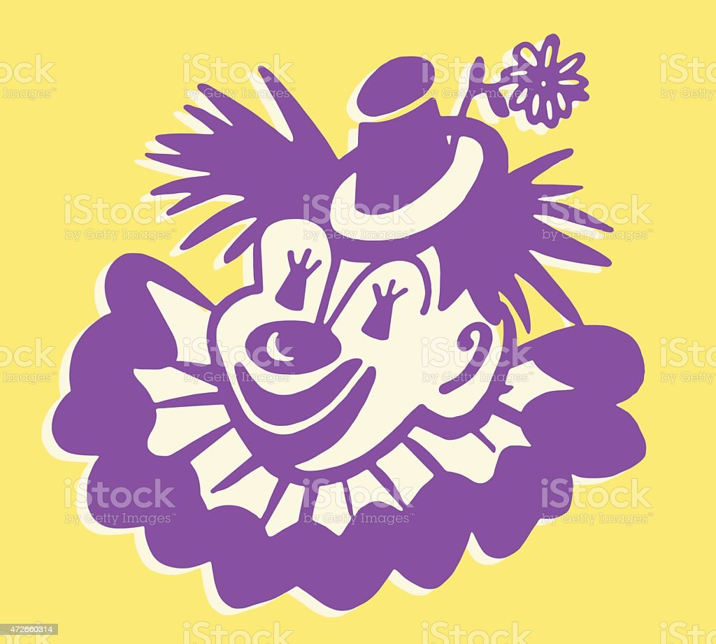 Clown Wearing Hat vector art illustration