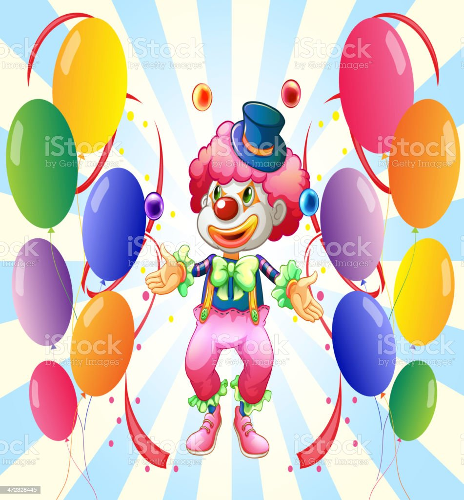 Clown with a colorful costume surrounded by balloons royalty-free stock vector art