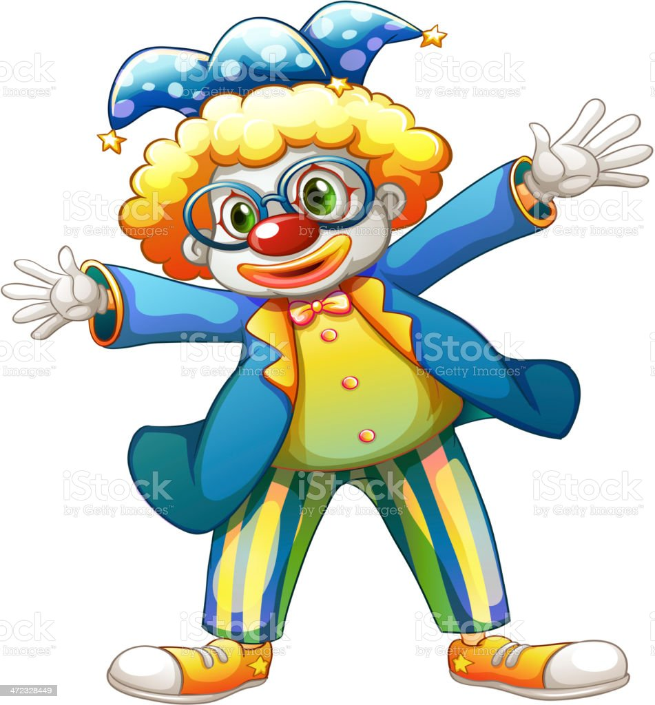 Clown with a colorful costume royalty-free stock vector art