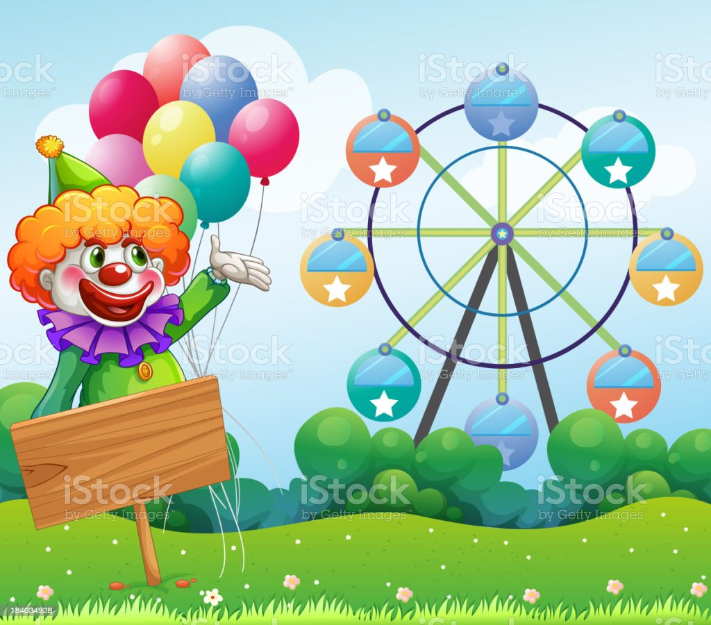 clown with balloons at the back of an empty board royalty-free stock vector art