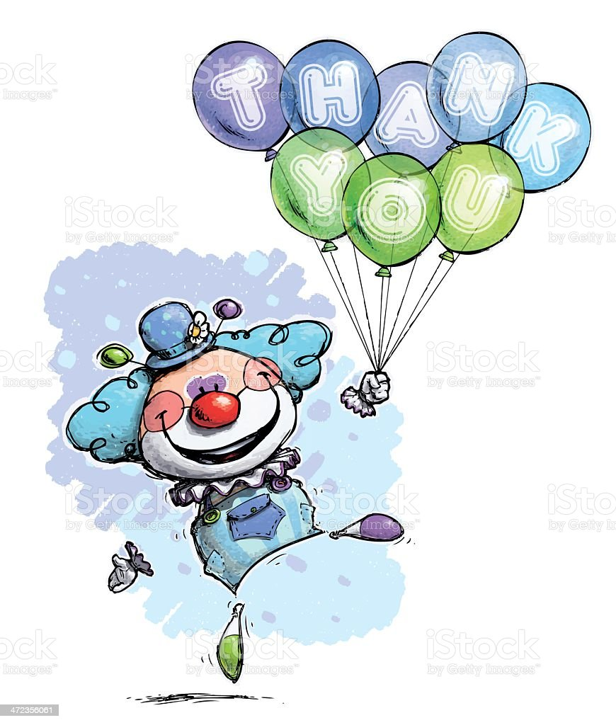 Clown with Balloons Saying Thank You - Boy Colors vector art illustration