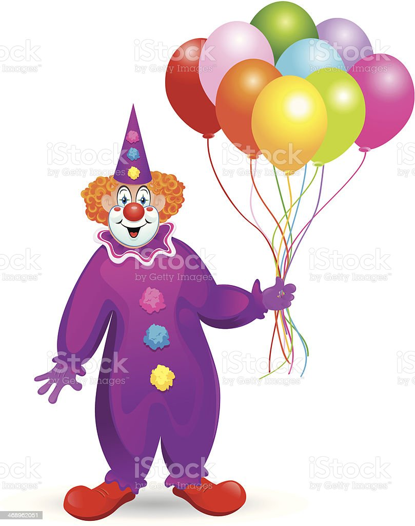 Clown with Balloons vector art illustration