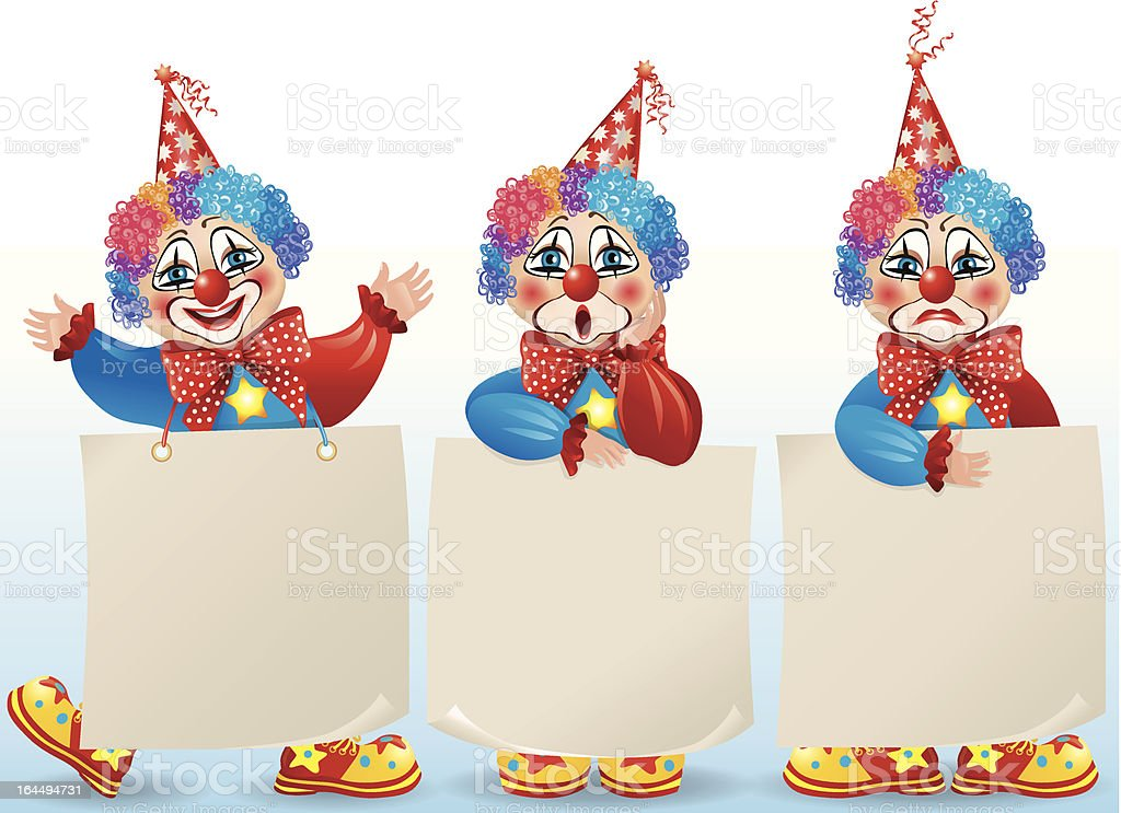 Clown with blank paper in different moods royalty-free stock vector art