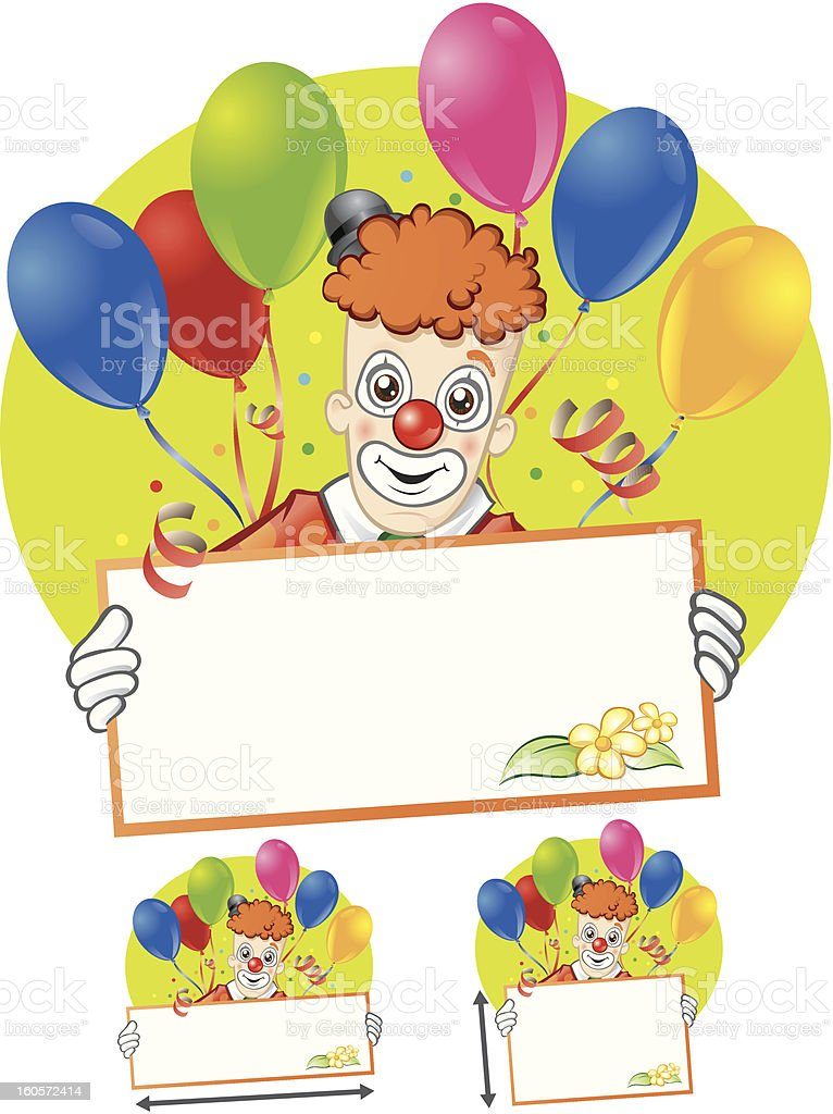Clown with greeting card and air ballons. royalty-free stock vector art