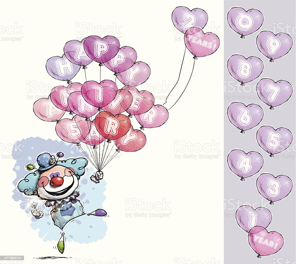 Clown with Heart Balloons Saying Happy Anniversary - Boy Colors royalty-free stock vector art