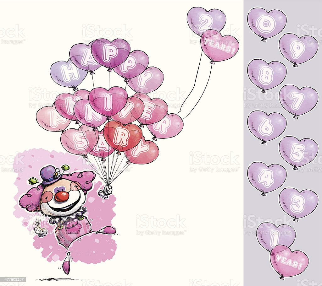 Clown with Heart Balloons Saying Happy Anniversary - Girl Colors royalty-free stock vector art