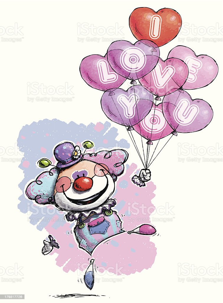 Clown with Heart Balloons Saying I Love You (Baby Colors) vector art illustration