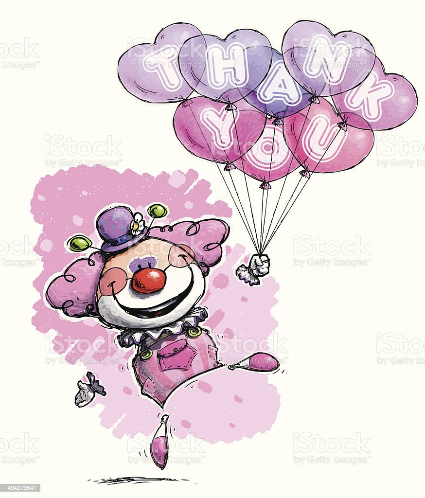 Clown with Heart Balloons Saying Thank You -  Girl Colors vector art illustration