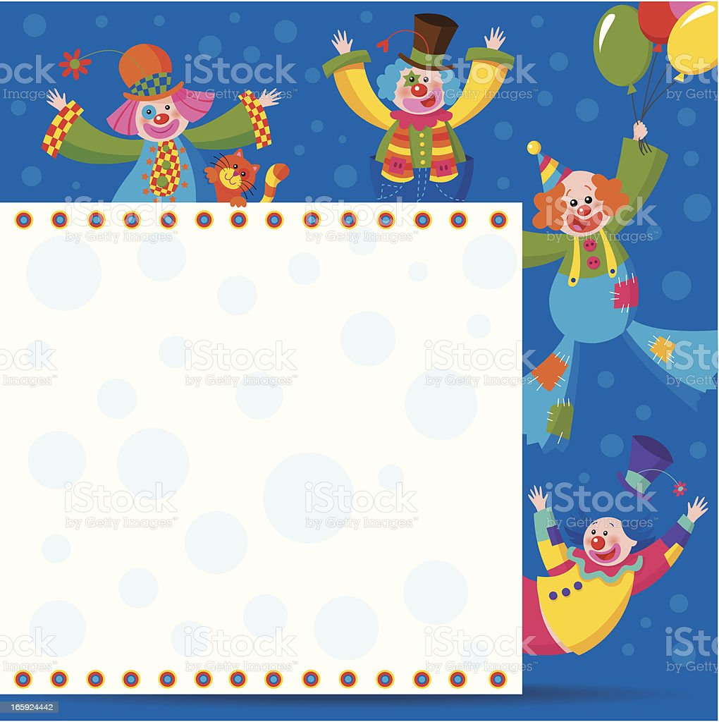 Clowns behind a sign 3 royalty-free stock vector art