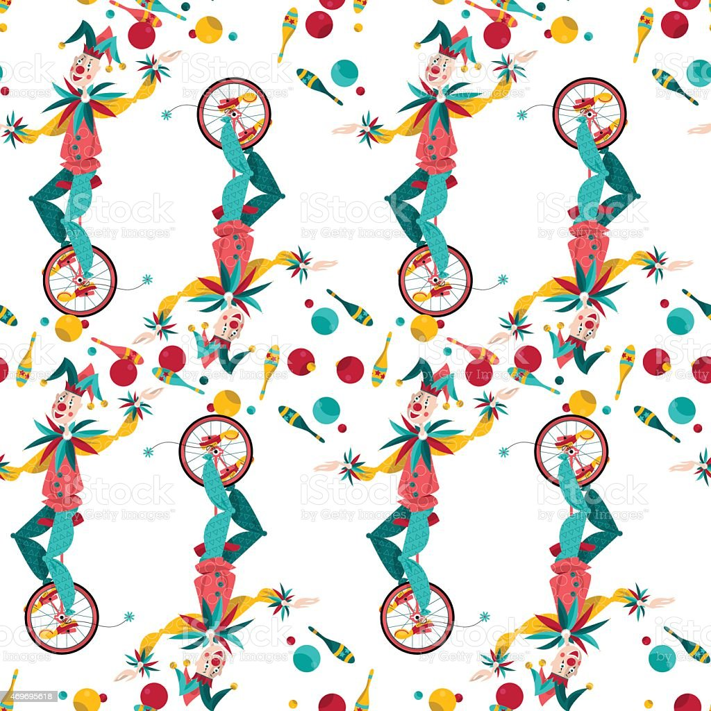 Clowns on unicycle juggling with balls. Seamless background pattern. vector art illustration