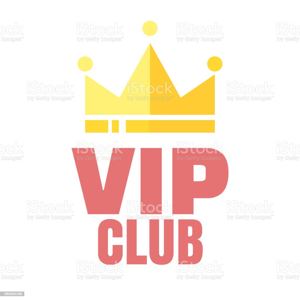 VIP club logo in flat style, members only banner vector art illustration