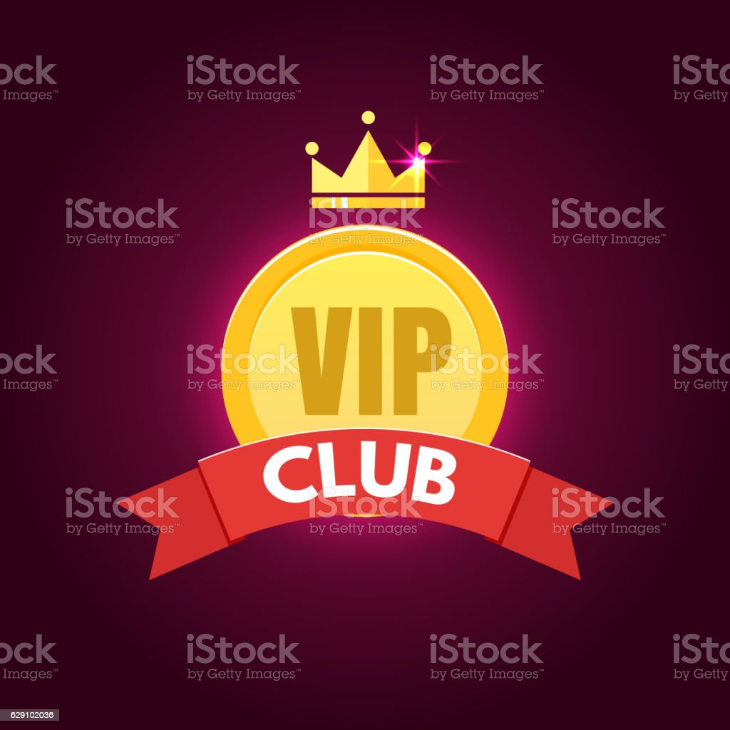 VIP club logo in flat style vector art illustration