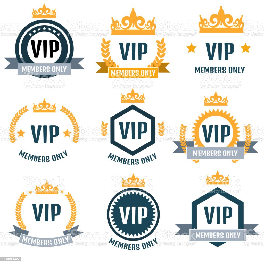 VIP Club members only emblem set vector art illustration