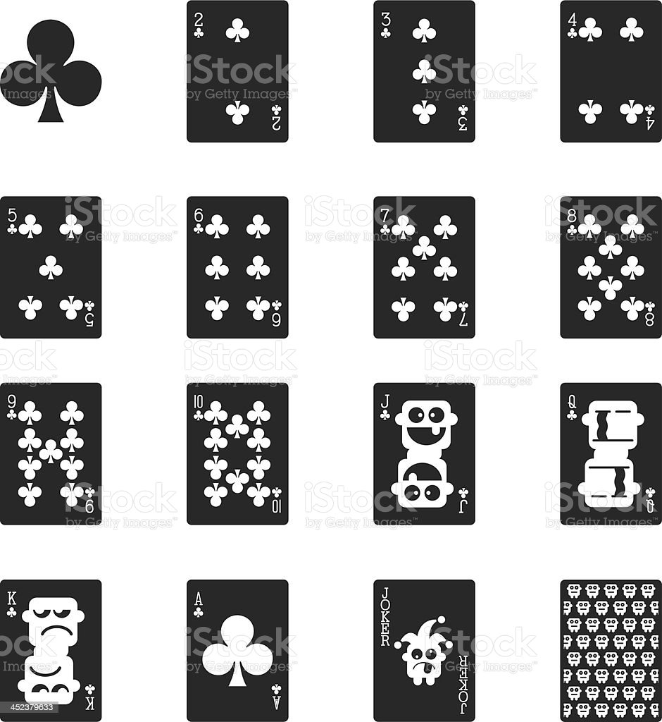 Club Suit Playing Card Silhouette Icons royalty-free stock vector art