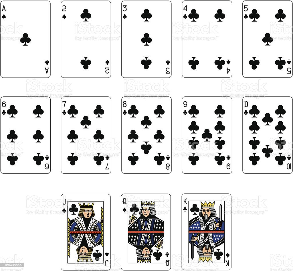 Club Suit Playing Cards vector art illustration