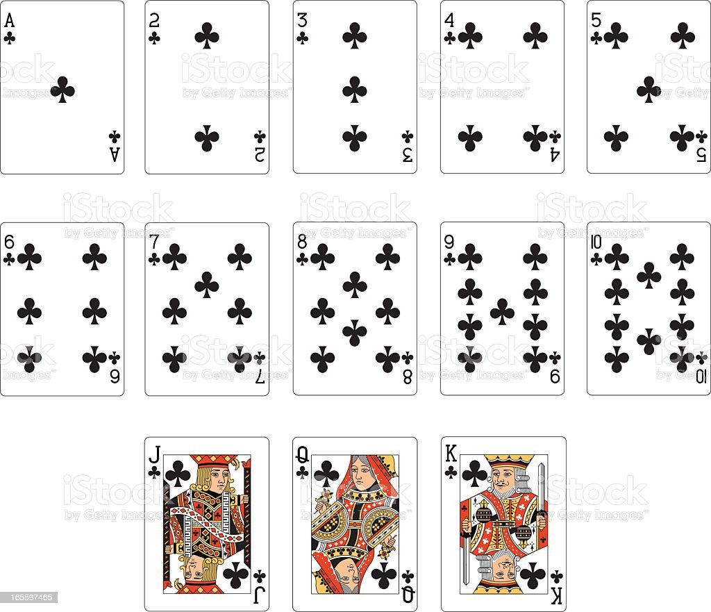 Club Suit Two Playing cards vector art illustration
