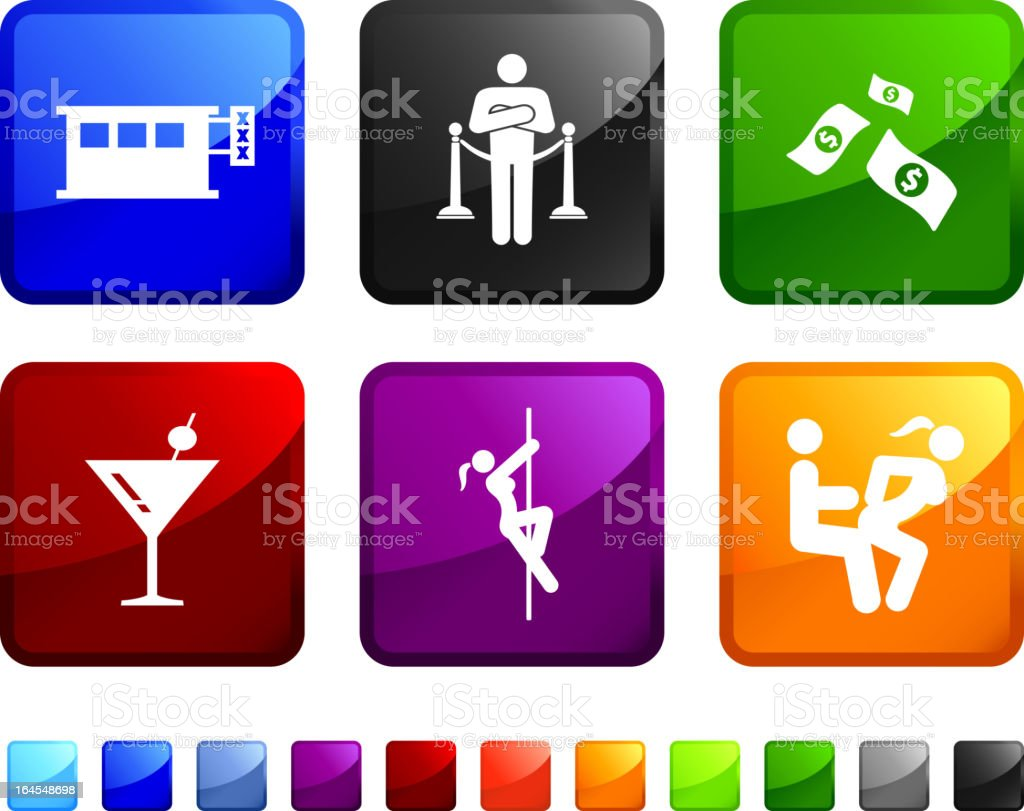 A club workers sticker set on white background vector art illustration