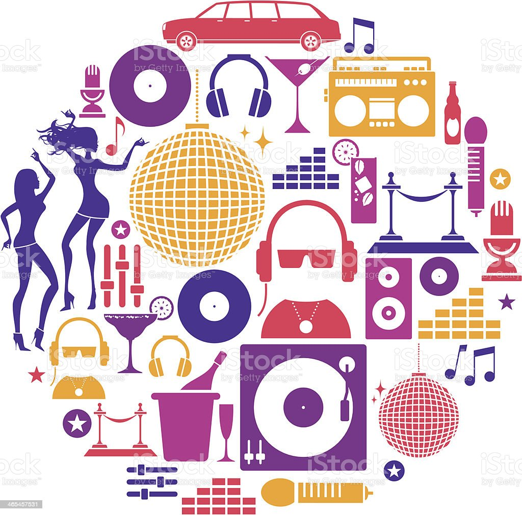 Clubbing Icon Set vector art illustration