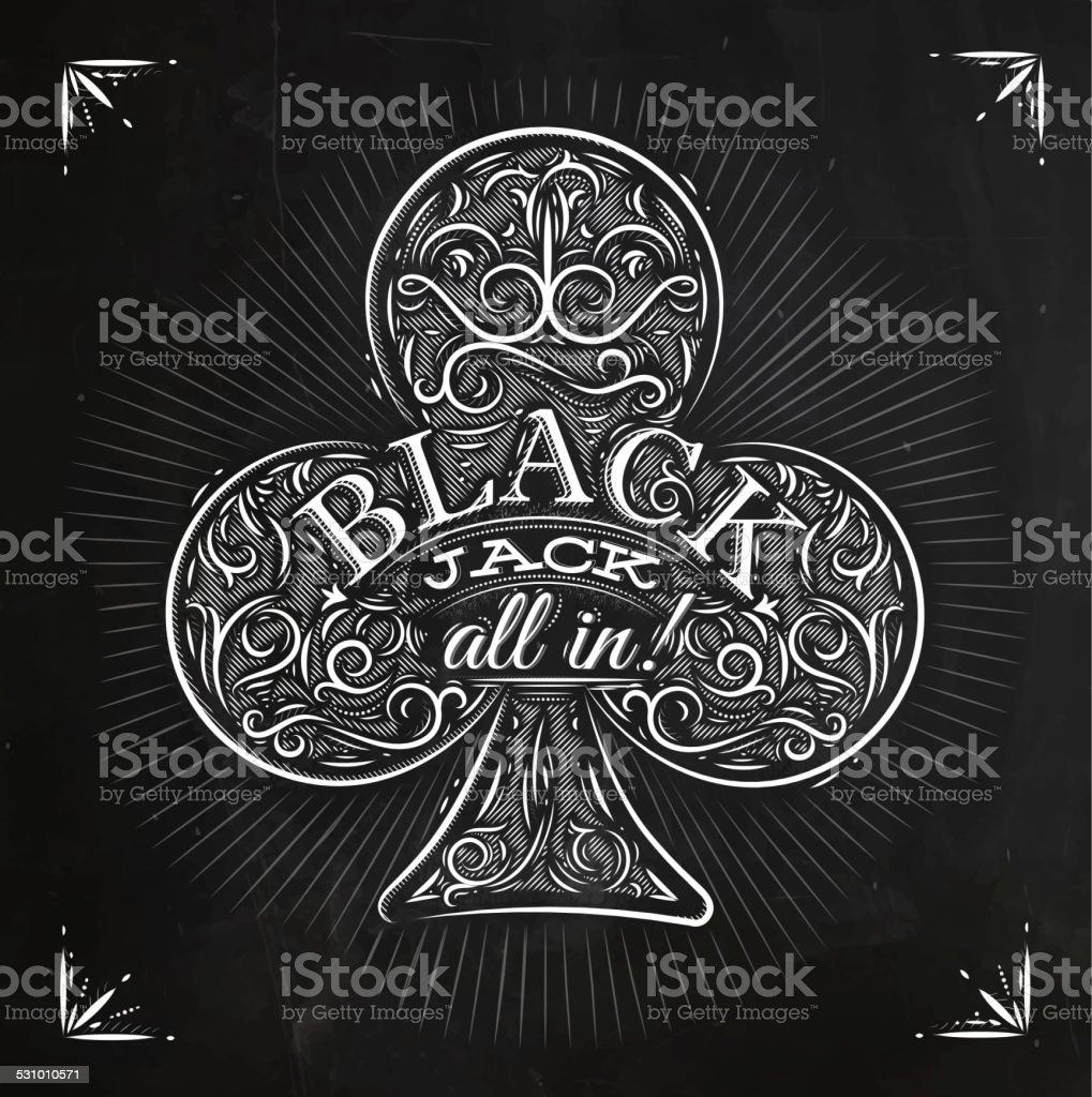 Clubs black jack chalk vector art illustration
