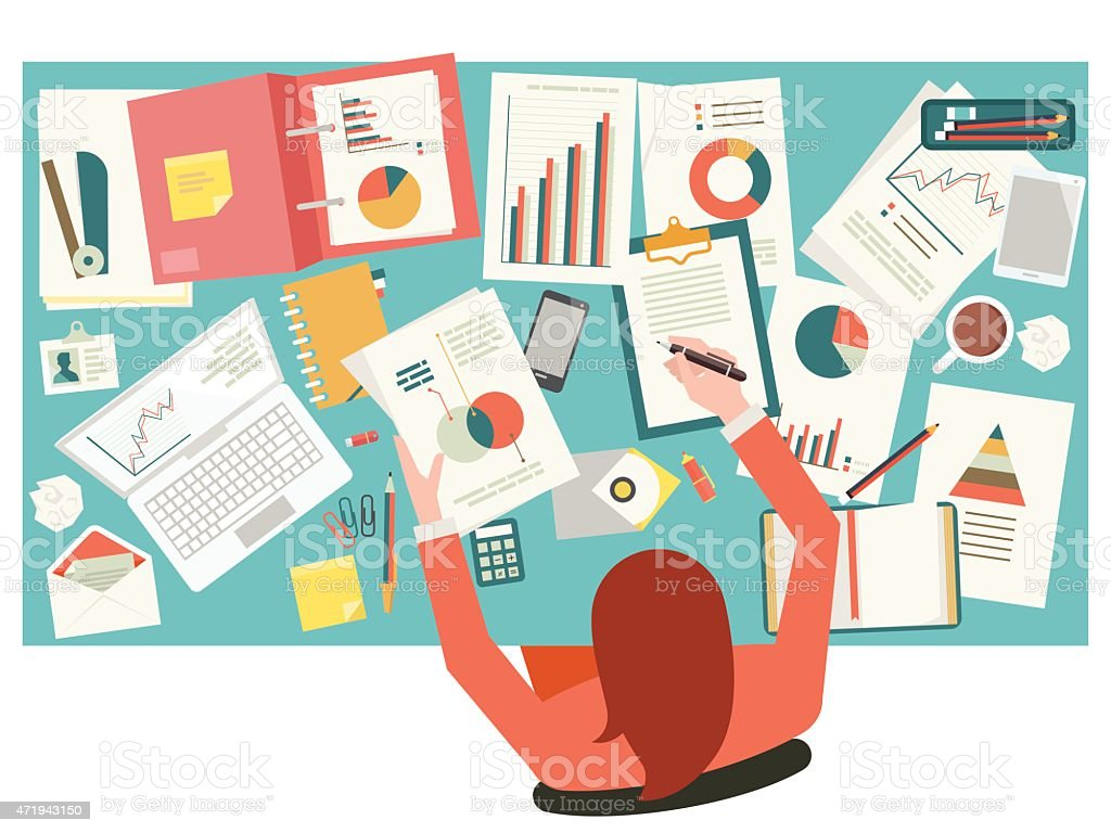 A cluttered desk of a very busy businesswoman  vector art illustration