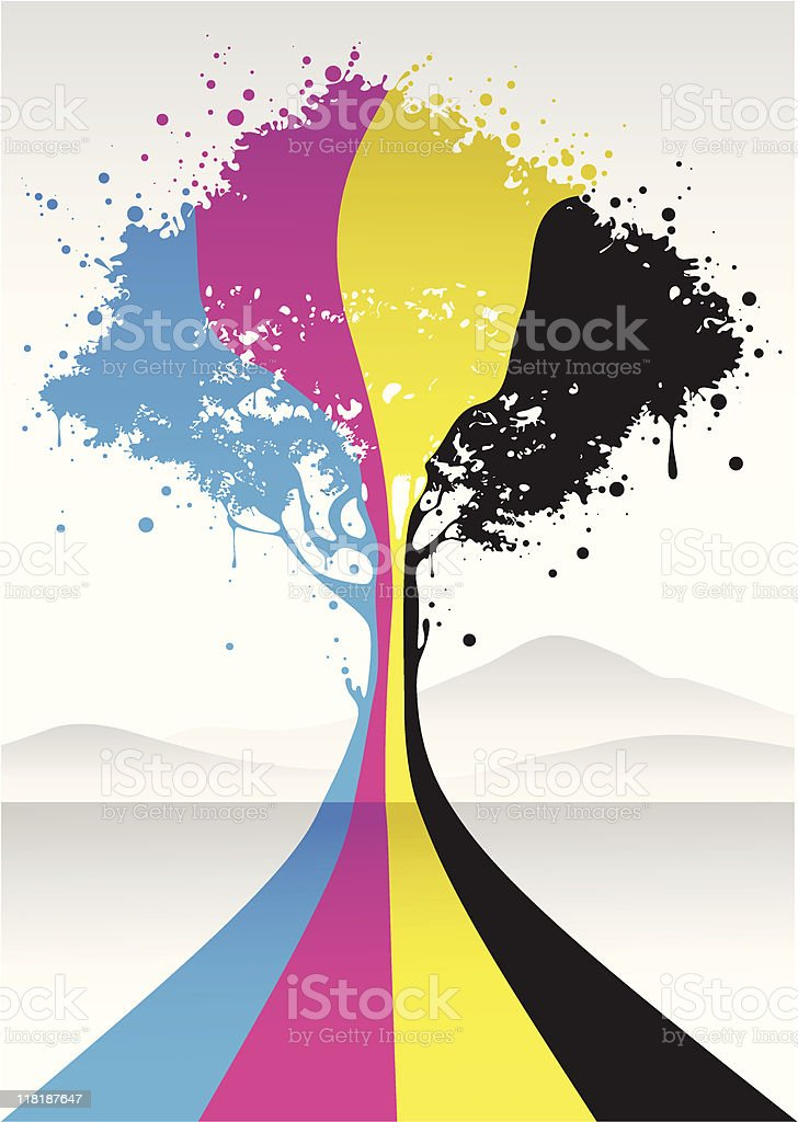cmyk color tree vector art illustration
