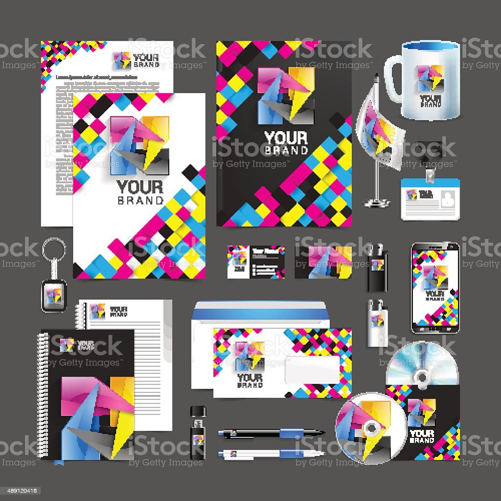 cmyk Corporate Identity template design abstract symbol vector art illustration