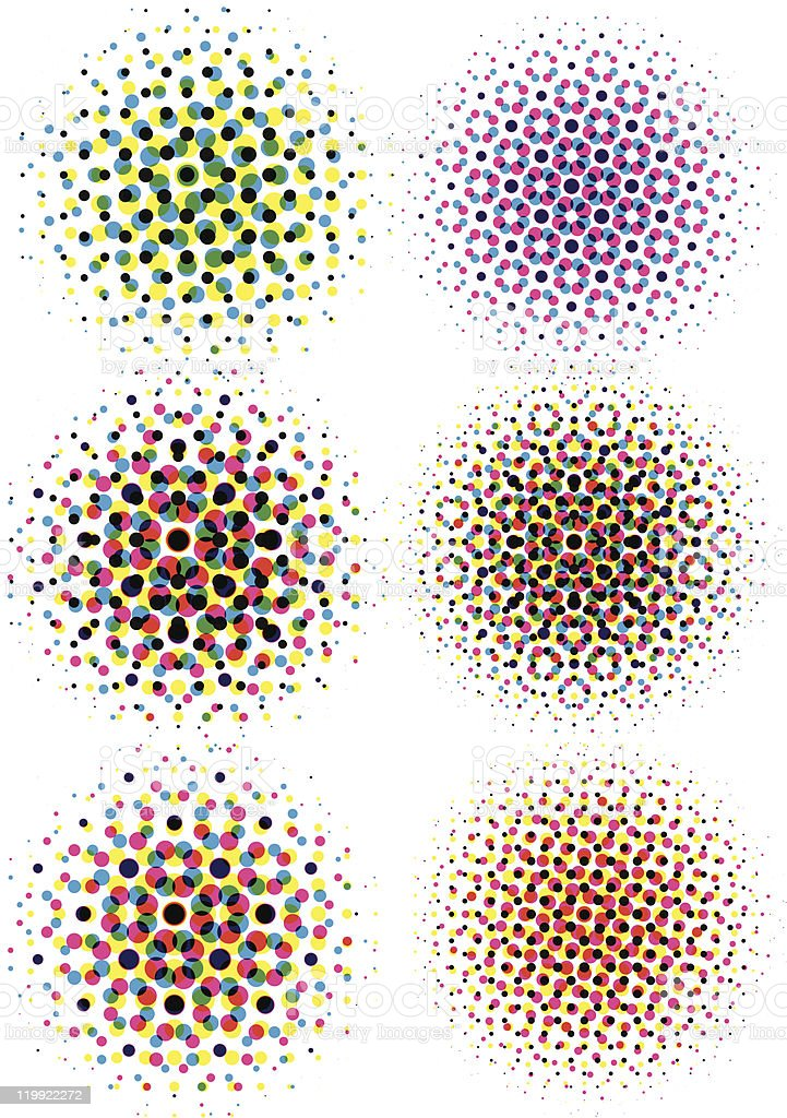 cmyk halftone dots vector art illustration