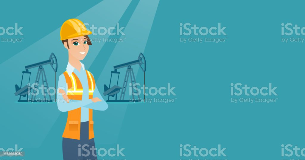Cnfident oil worker vector illustration vector art illustration