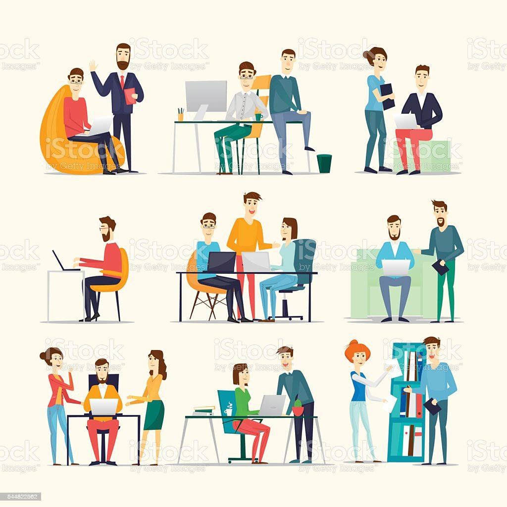 Co working people, meeting, teamwork, collaboration and discussion vector art illustration