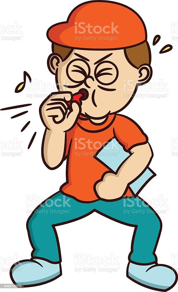 Coach Blowing Whistle Cartoon vector art illustration