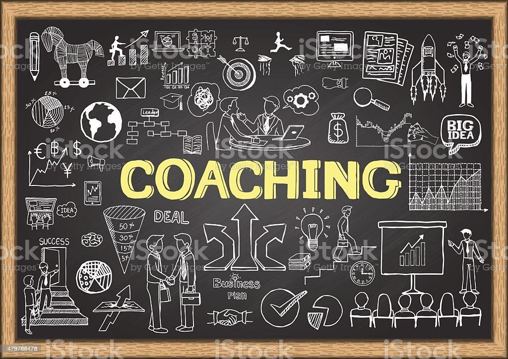 coaching on chalkboard vector art illustration