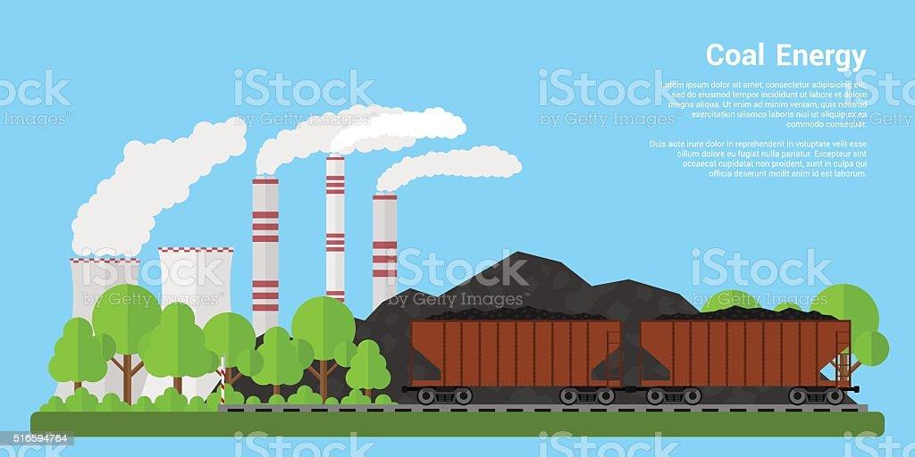 Coal energy banner vector art illustration