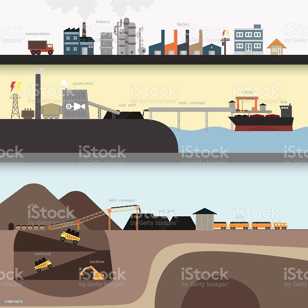 coal graphic vector art illustration