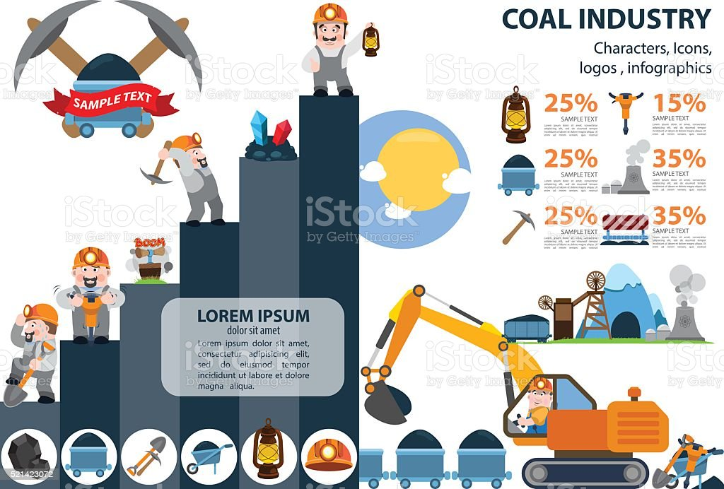 Coal industry icons, characters, infographics. vector art illustration