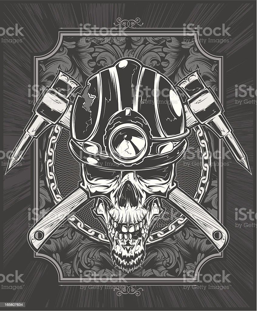 coal miner skull royalty-free stock vector art