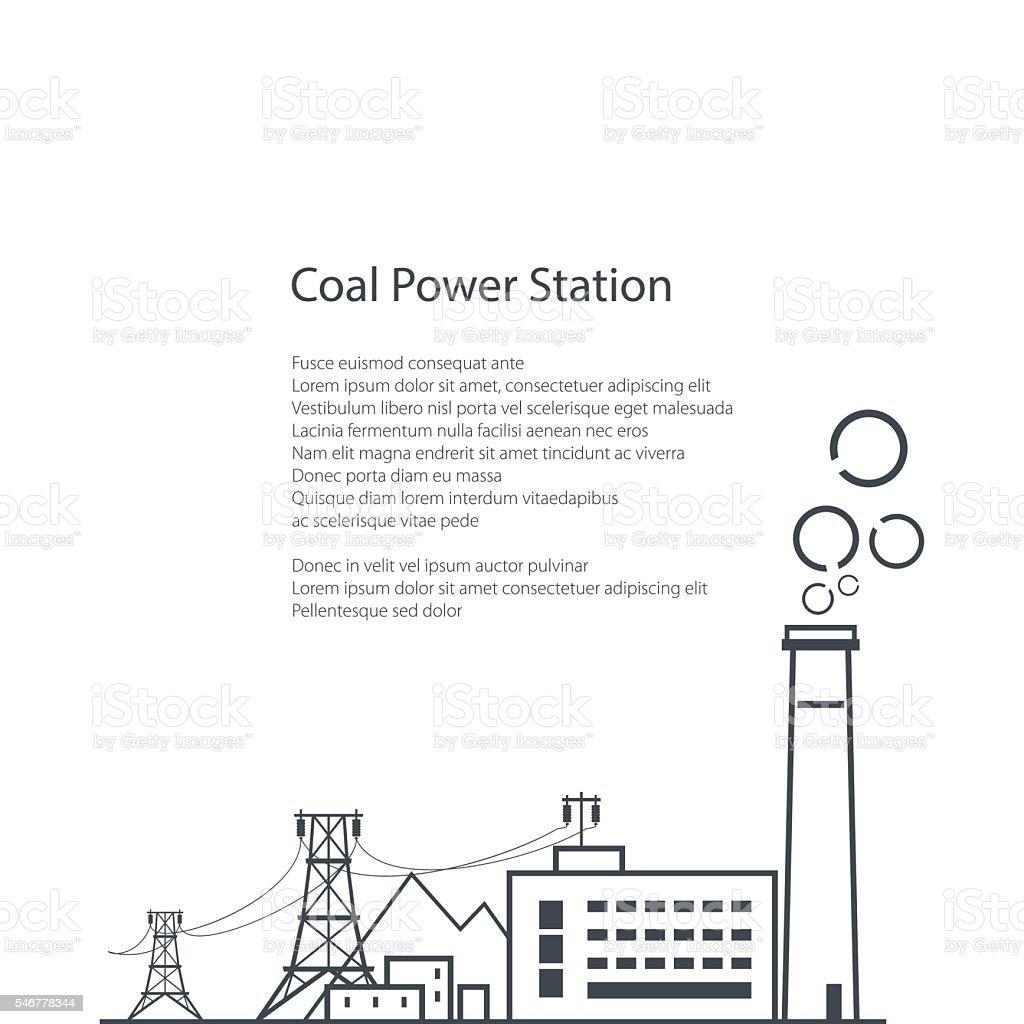 Coal Power Station Poster Brochure vector art illustration