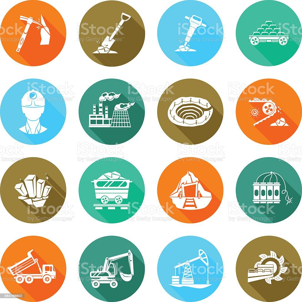 Coalmine equipment flat round icons set vector art illustration