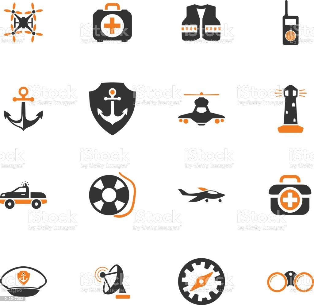 Coast Guard icons set vector art illustration