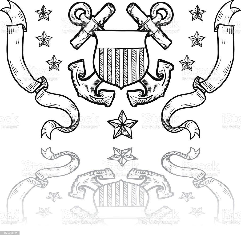 US Coast Guard Military insignia sketch vector art illustration