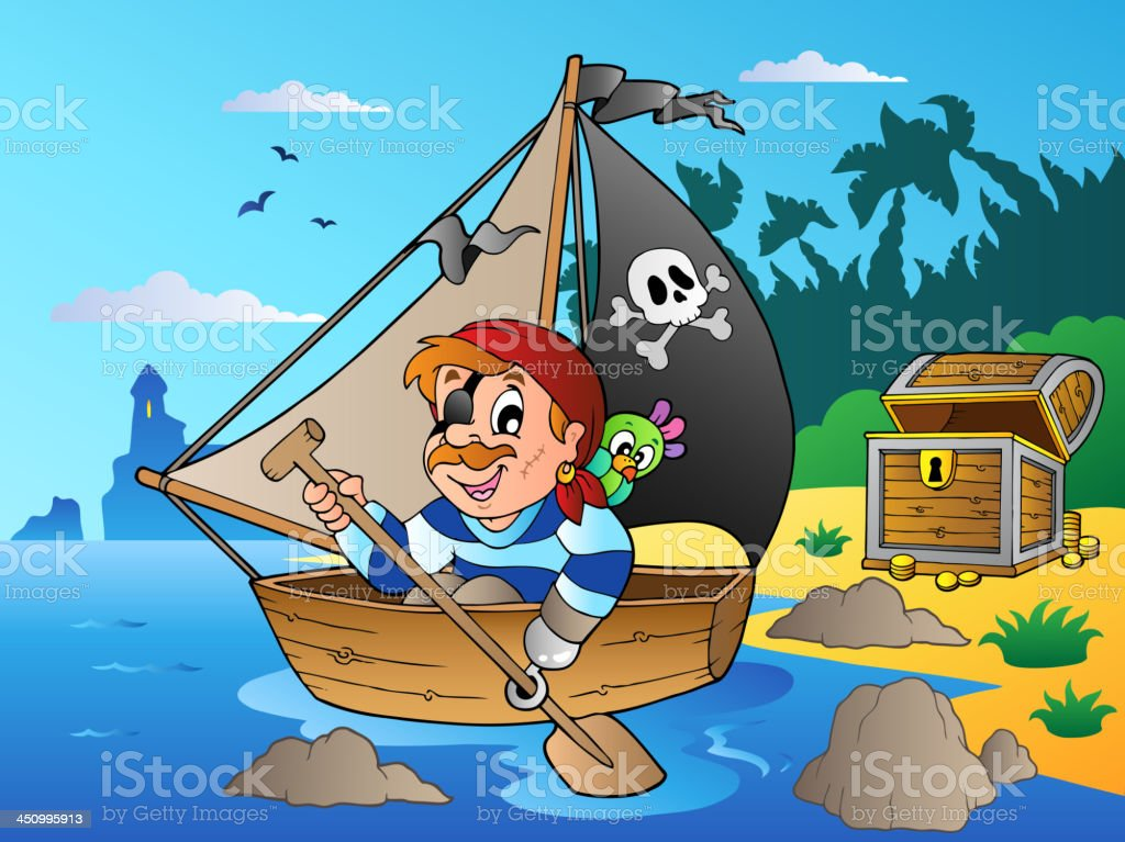 Coast with young cartoon pirate 1 royalty-free stock vector art
