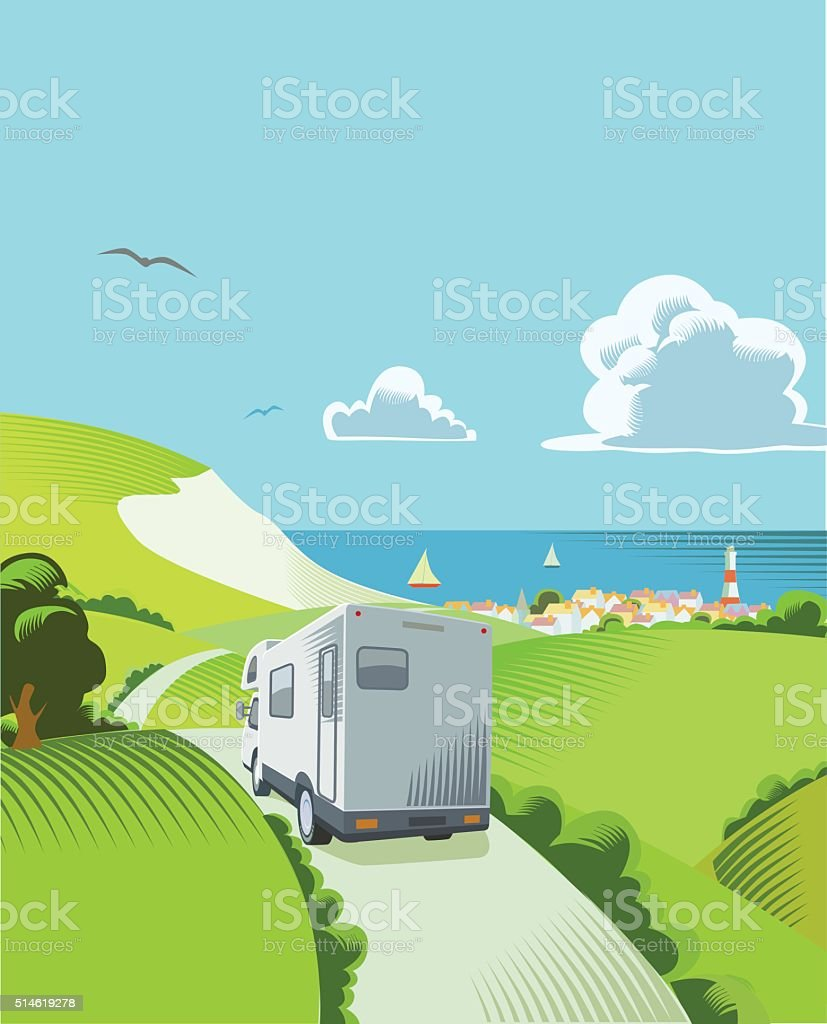 Coastal Countryside scene vector art illustration