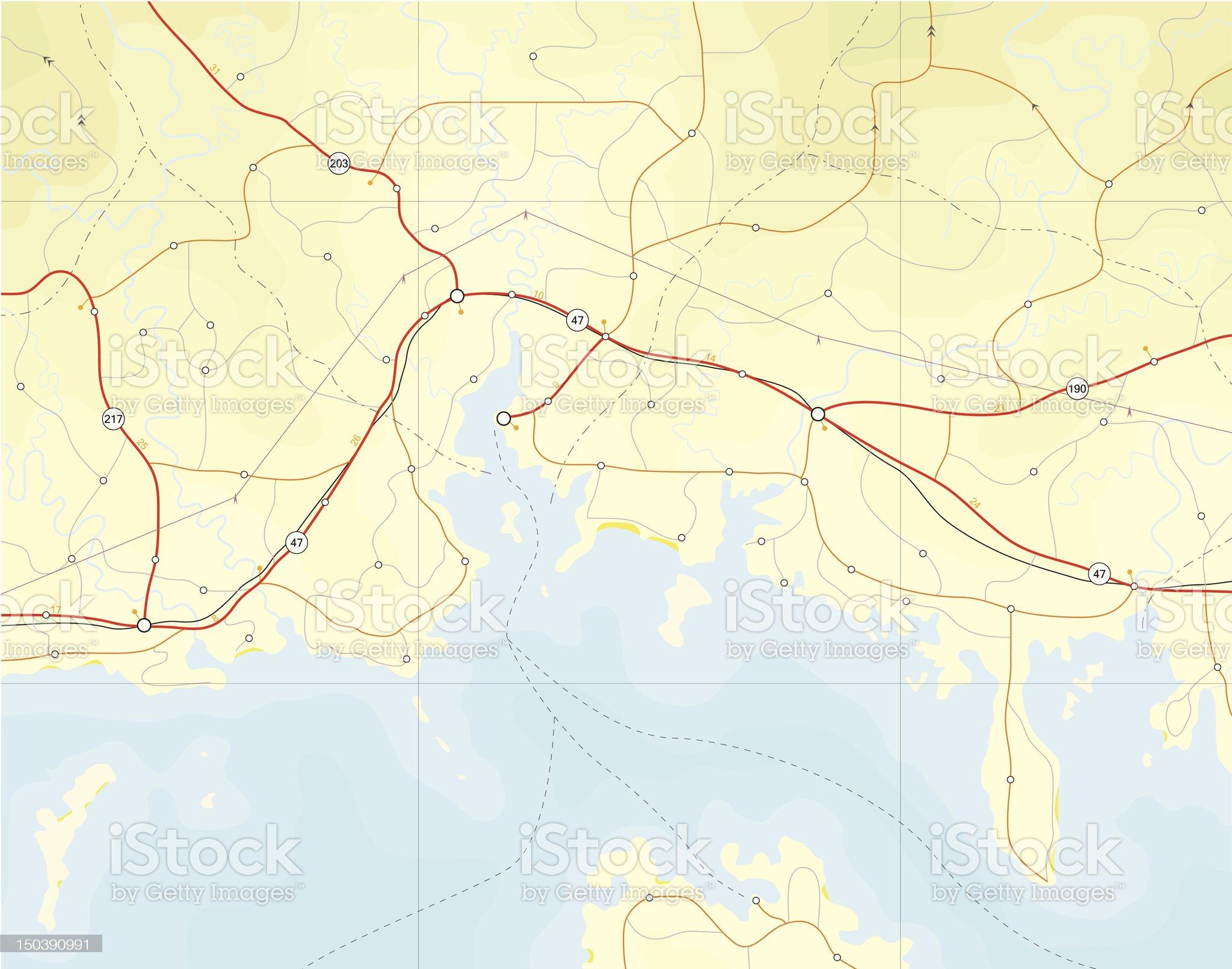 Coastal map royalty-free stock vector art