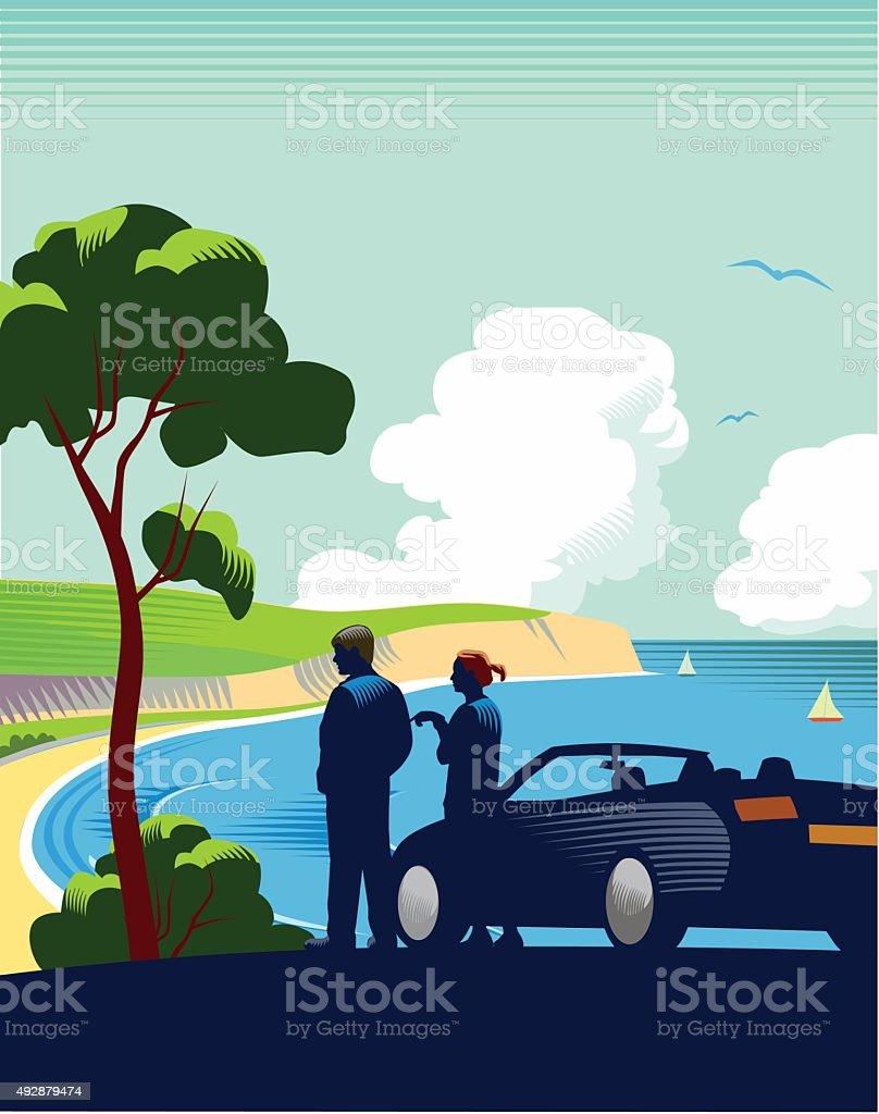 Coastal scene with car vector art illustration