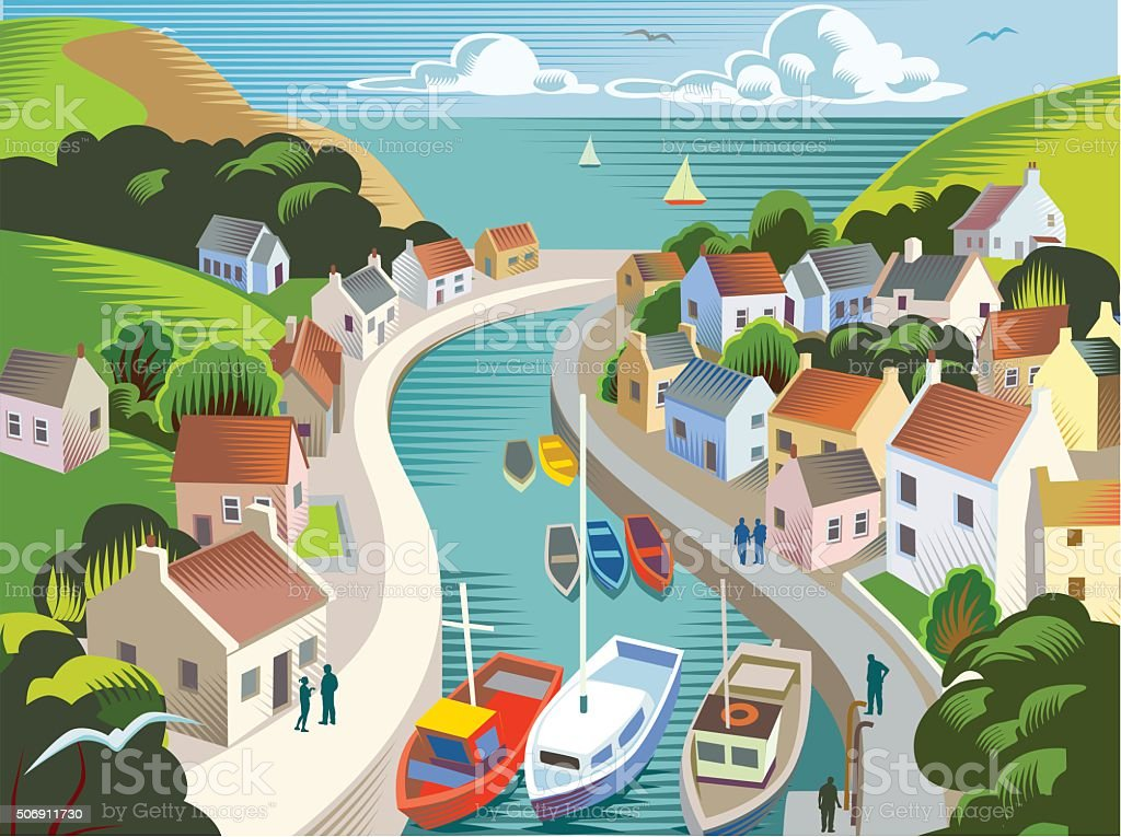 Coastal town or village vector art illustration