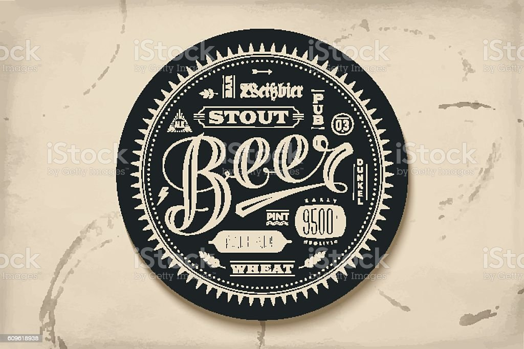 Coaster for beer with hand drawn lettering vector art illustration